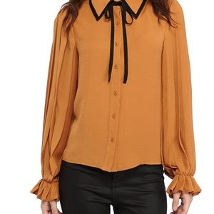 English Factory Pleated Tie Neck Blouse